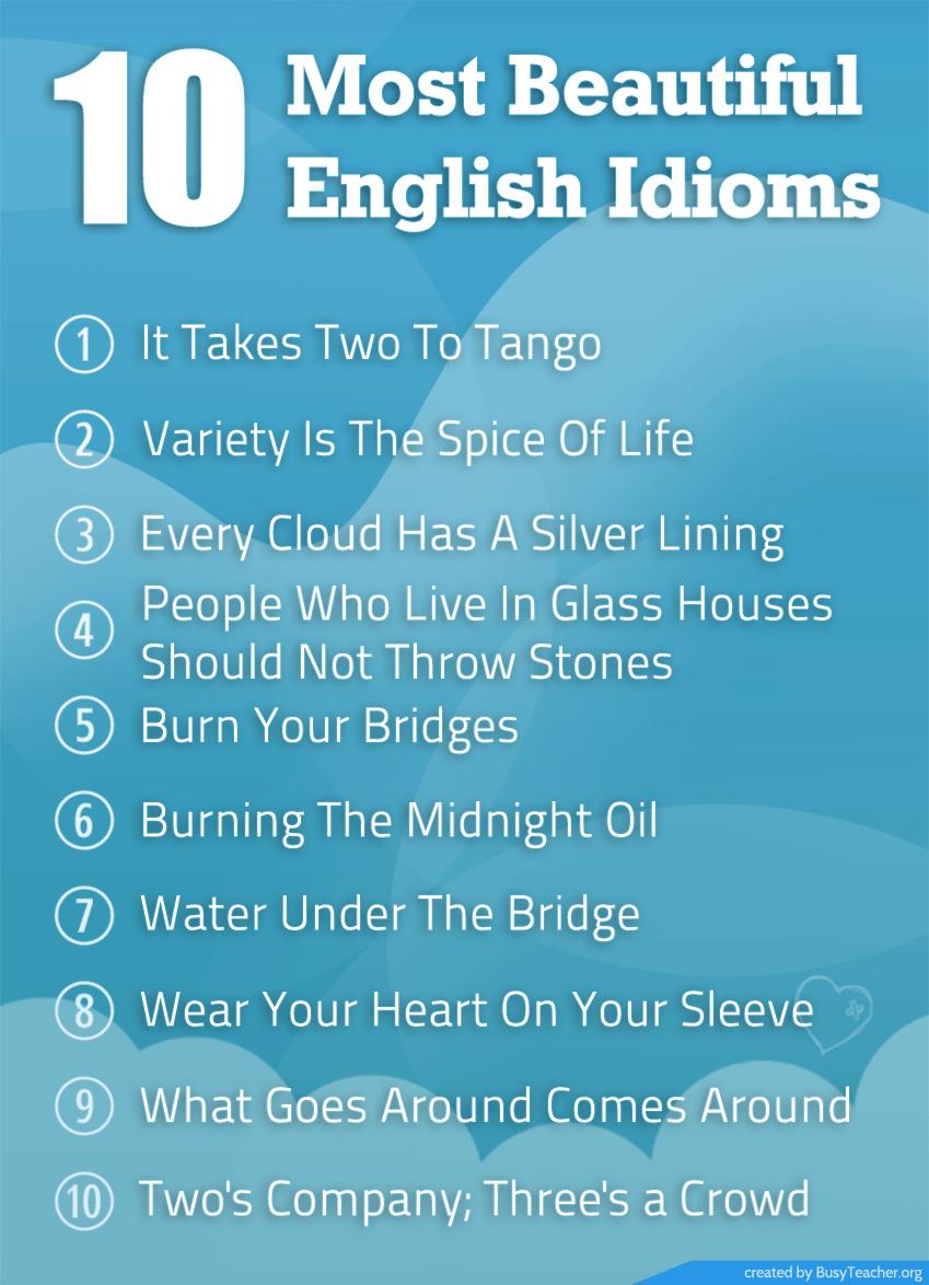 10 Most Beautiful English Idioms: Poster