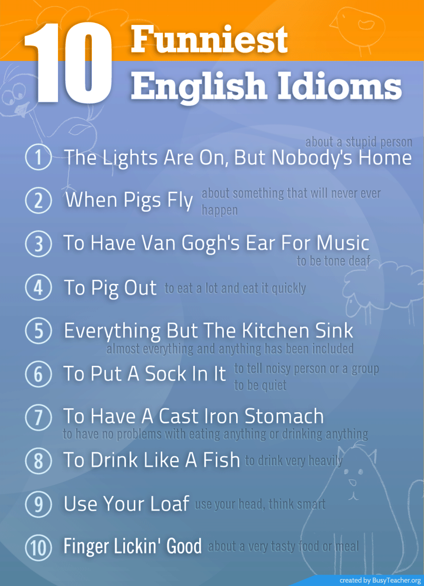 10 Funniest English Idioms: Poster