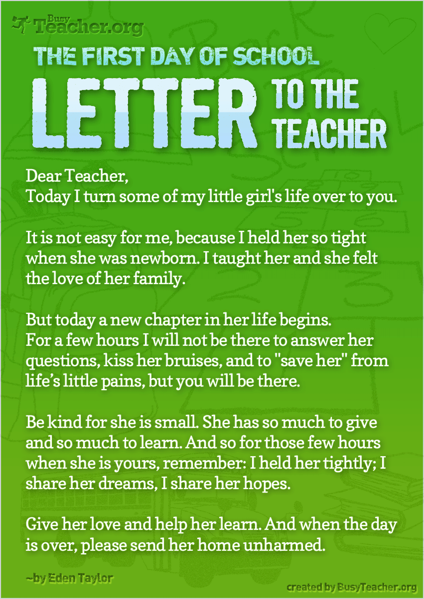 The First Day Of School � Letter To The Teacher: Poster