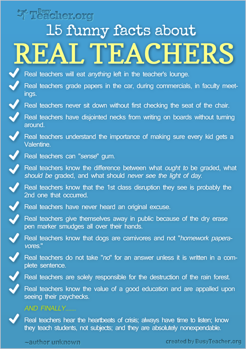 15 Funny Facts About Real Teachers: Poster