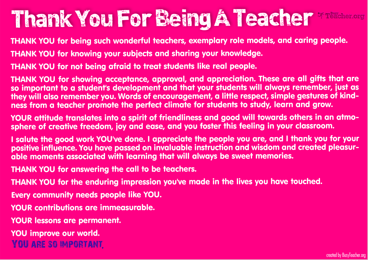 Thank You For Being A Teacher: Poster