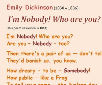 I'm Nobody! Who Are You? (Poem by Emily Dickinson)