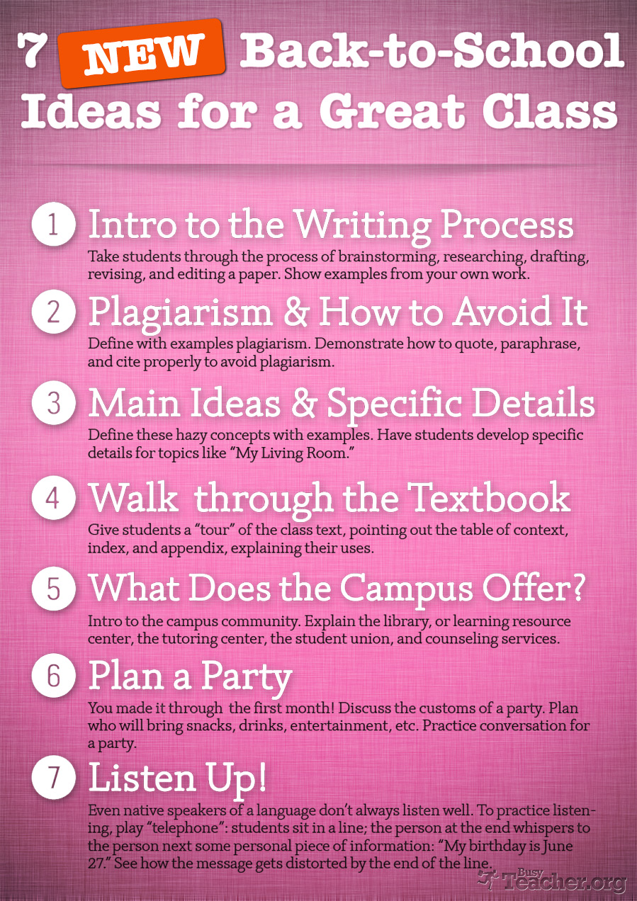 7 NEW Back-to-School Ideas for a Great Class: Poster