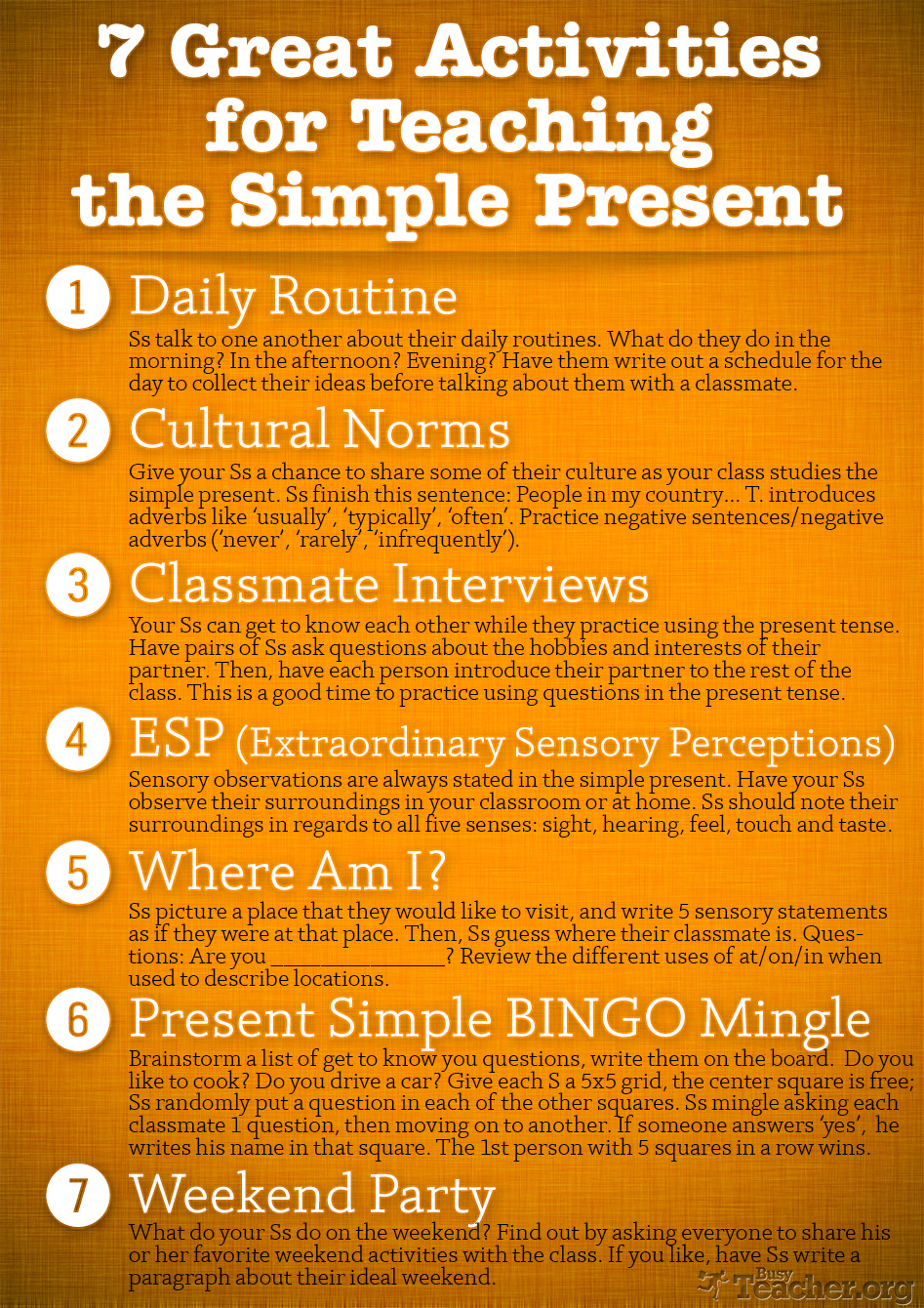 7 Great Activities to Teach the Simple Present: Poster