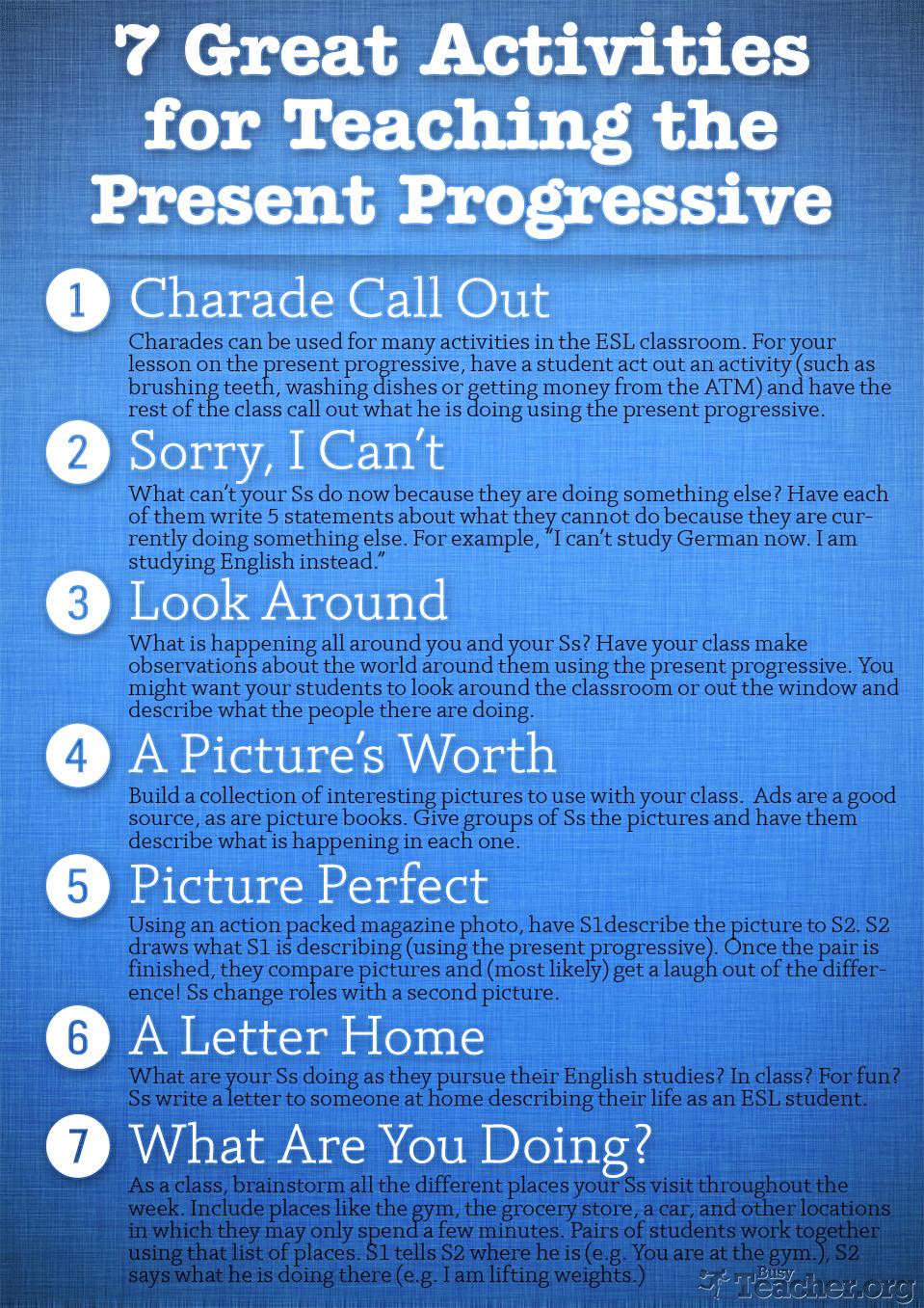 7 Great Activities to Teach the Present Progressive: Poster