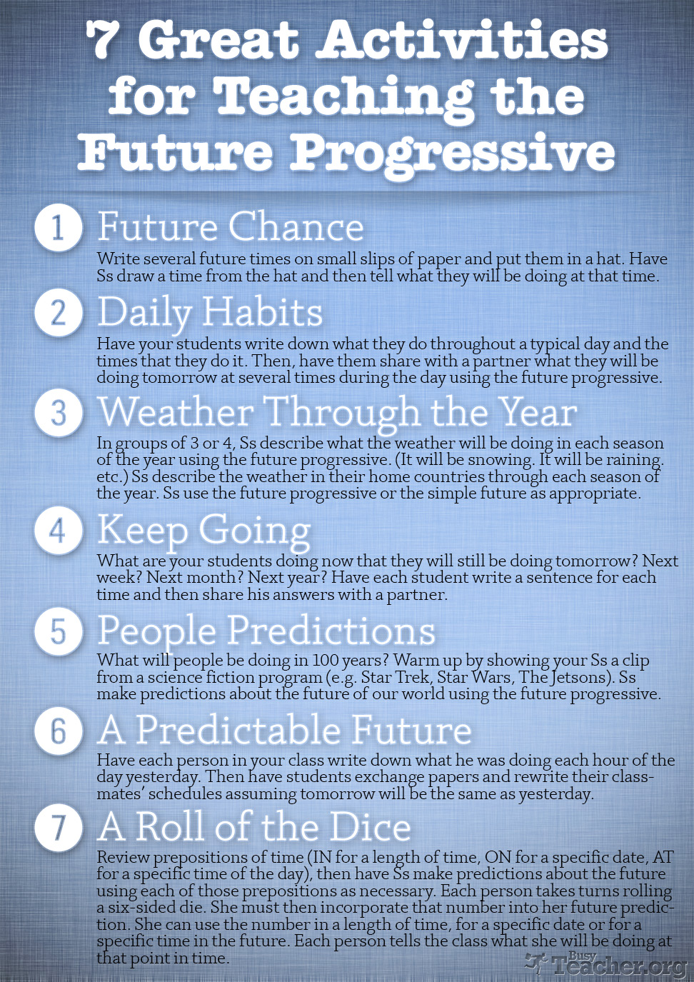 7 Great Activities to Teach the Future Progressive: Poster