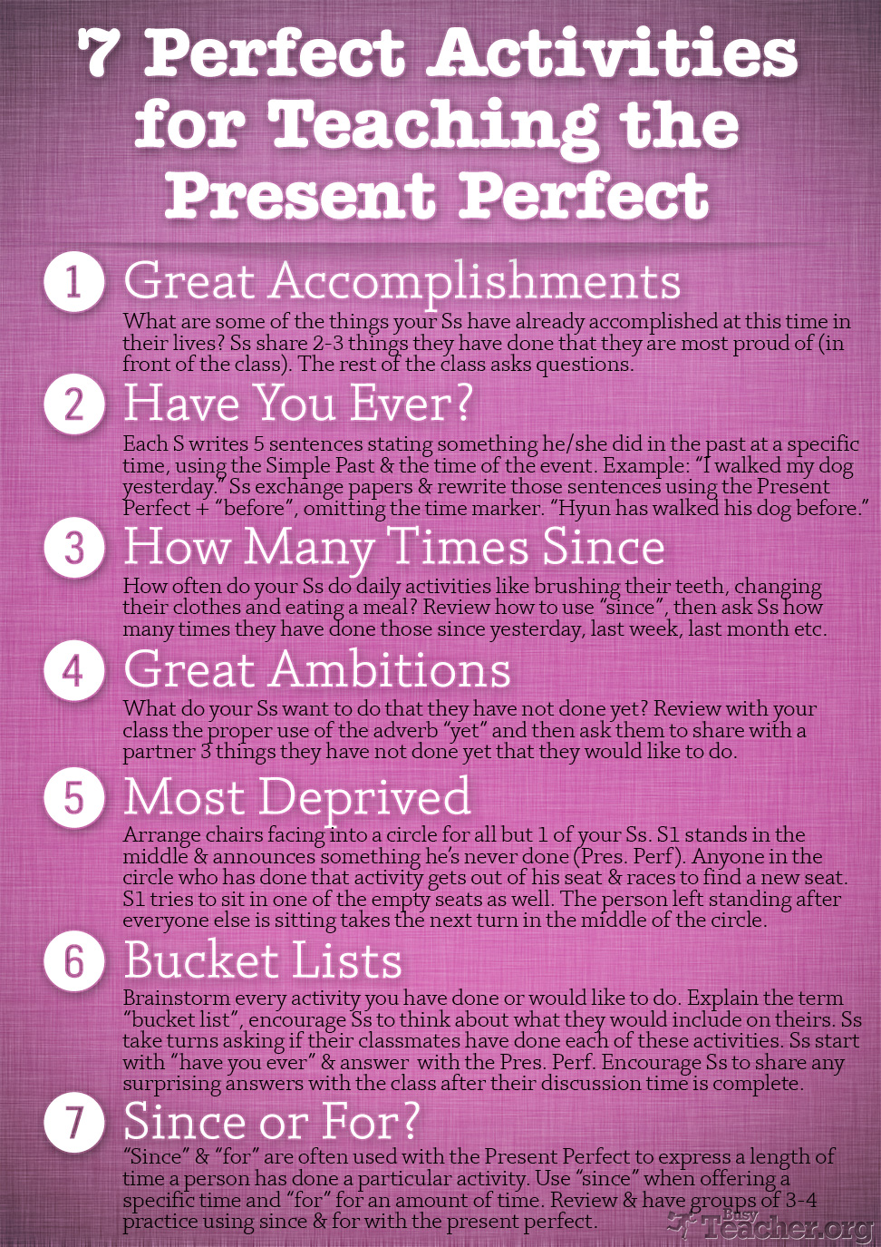 7 Perfect Activities to Teach the Present Perfect: Poster