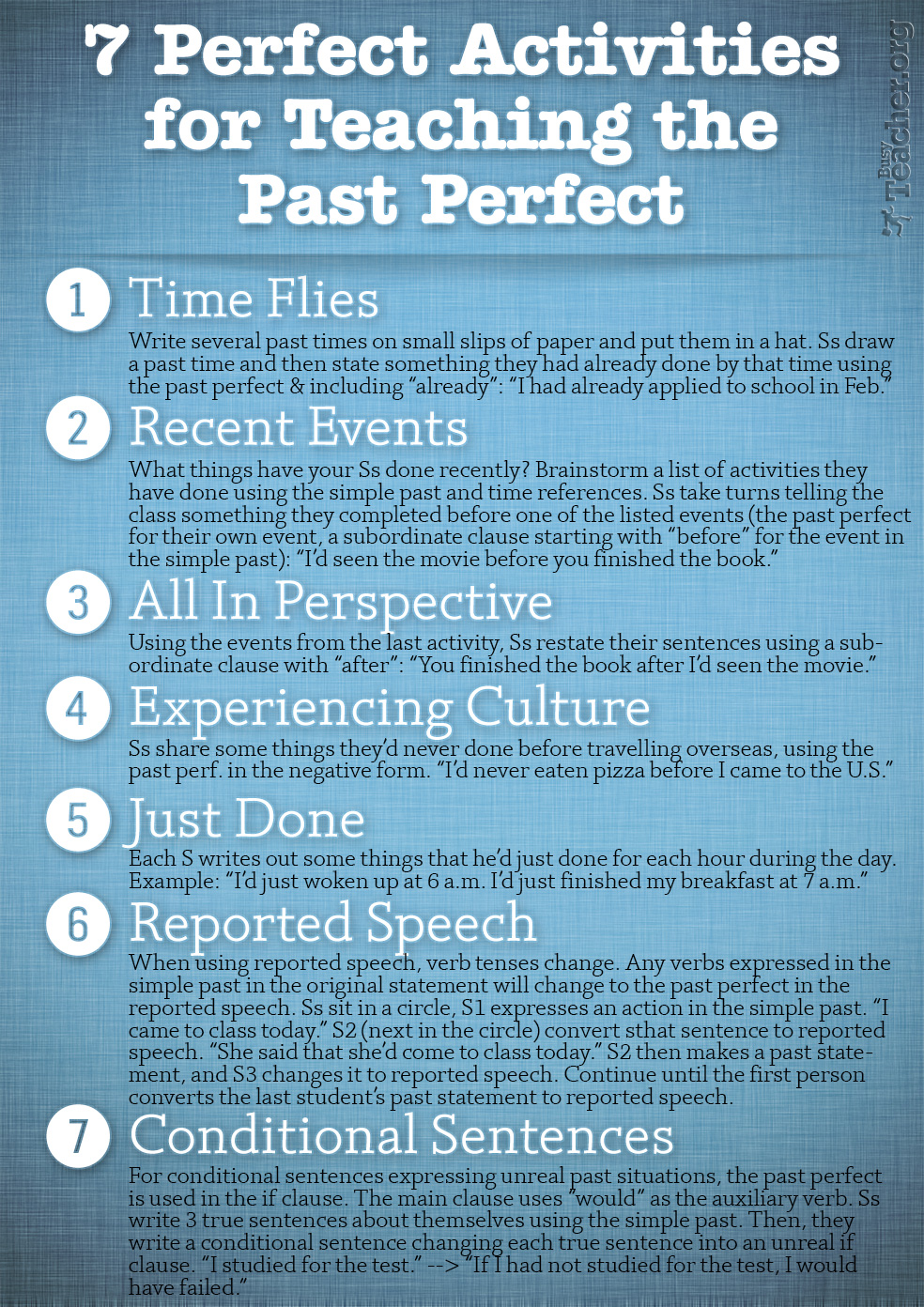 7 Perfect Activities to Teach the Past Perfect: Poster
