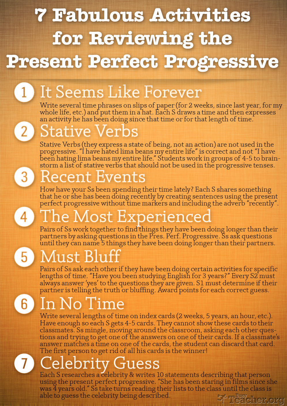 7 Fabulous Activities to Review the Present Perfect Progressive: Poster