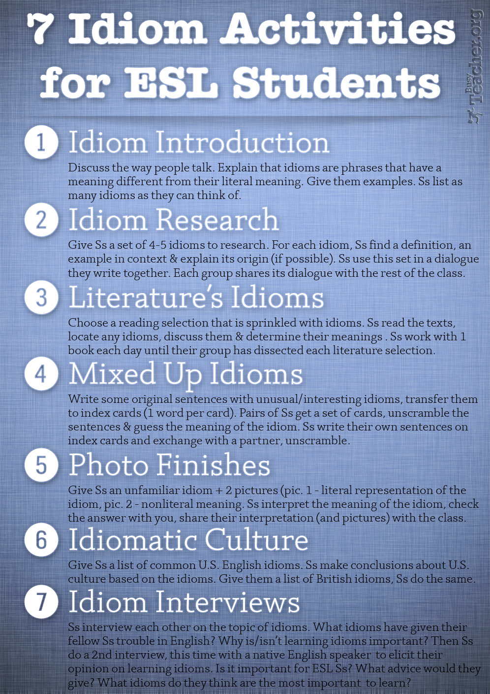 7 Idiom Activities for ESL Students: Poster