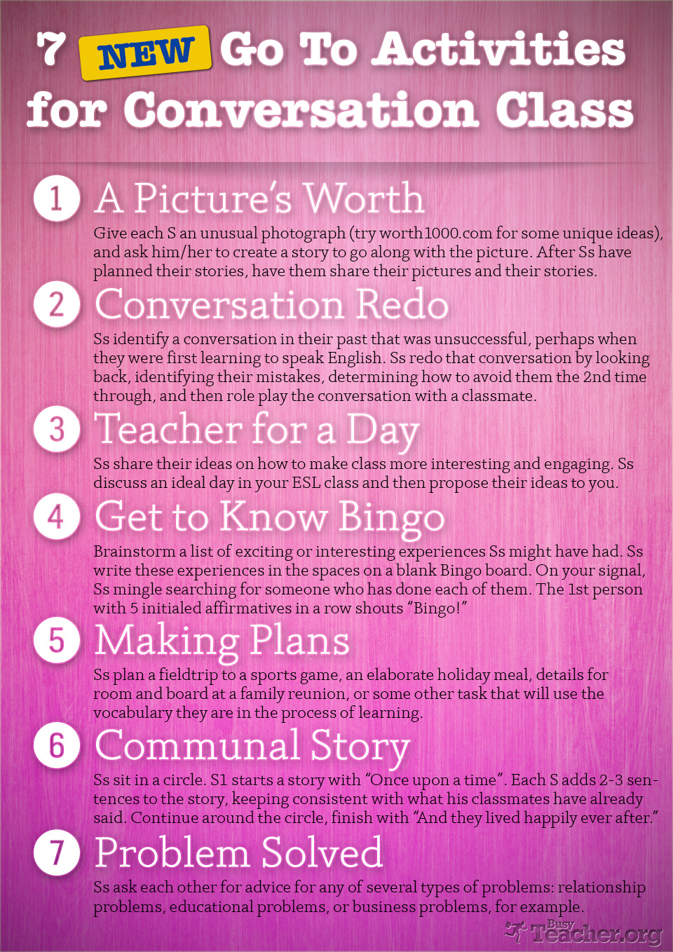 7 New Go To Activities for Conversation Class: Poster