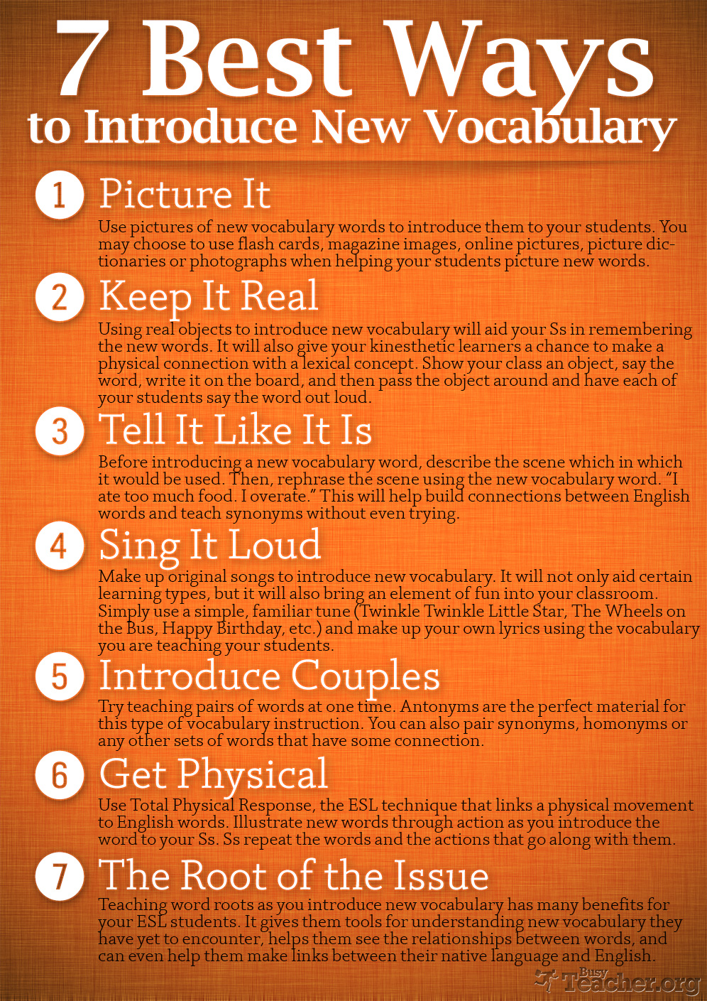 7 Best Ways to Introduce New Vocabulary: Poster