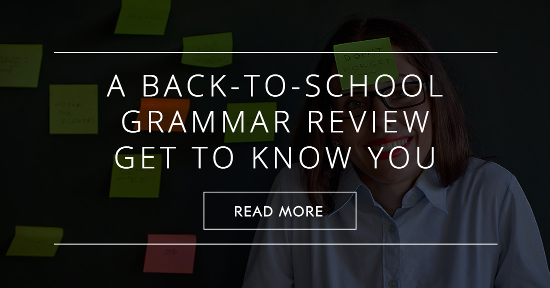 A Back-to-School Grammar Review Get to Know You