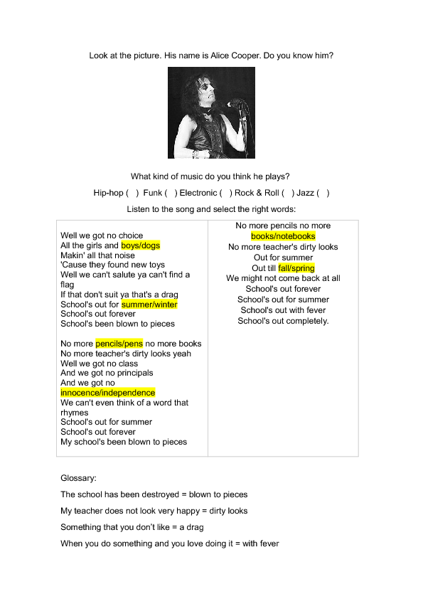 School's Out - Alice Cooper, Song Worksheet