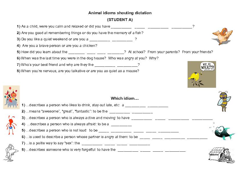 Animal Idioms - Shouting Dictation