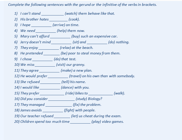 Gerunds & Infinitives Practice Worksheet