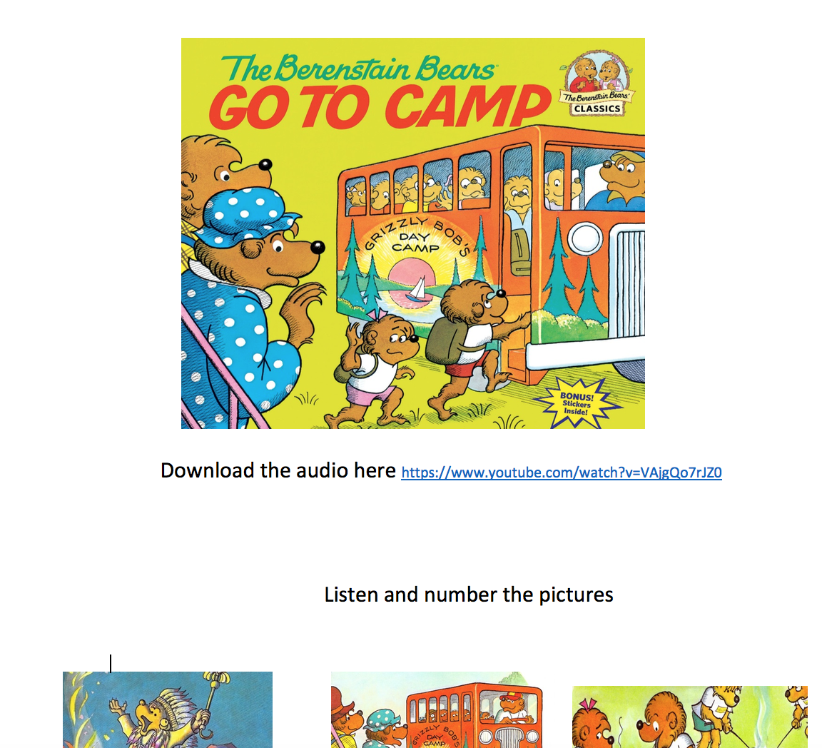 The Berenstain Bears Go To Camp - A Video Activity