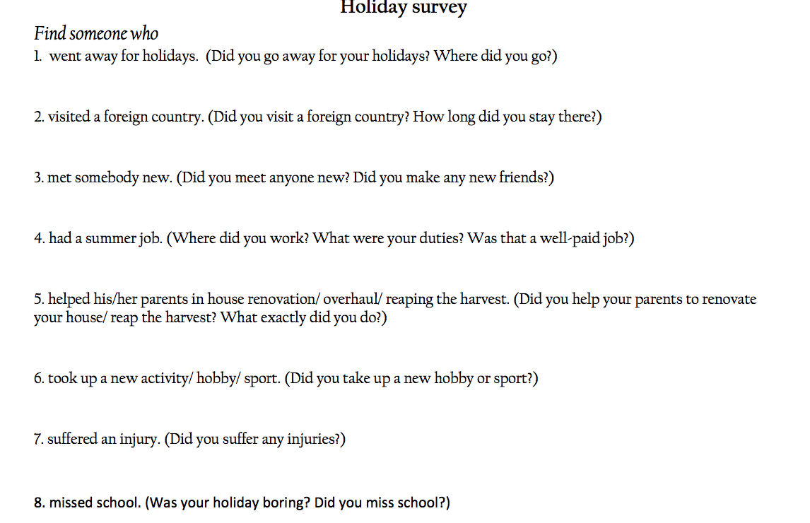 Holiday Survey