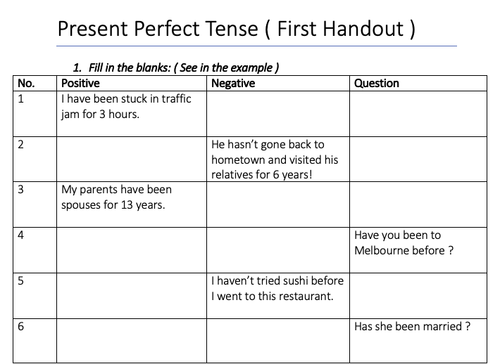 Present Perfect Worksheet No. 1 - Suitable for Children and Adults