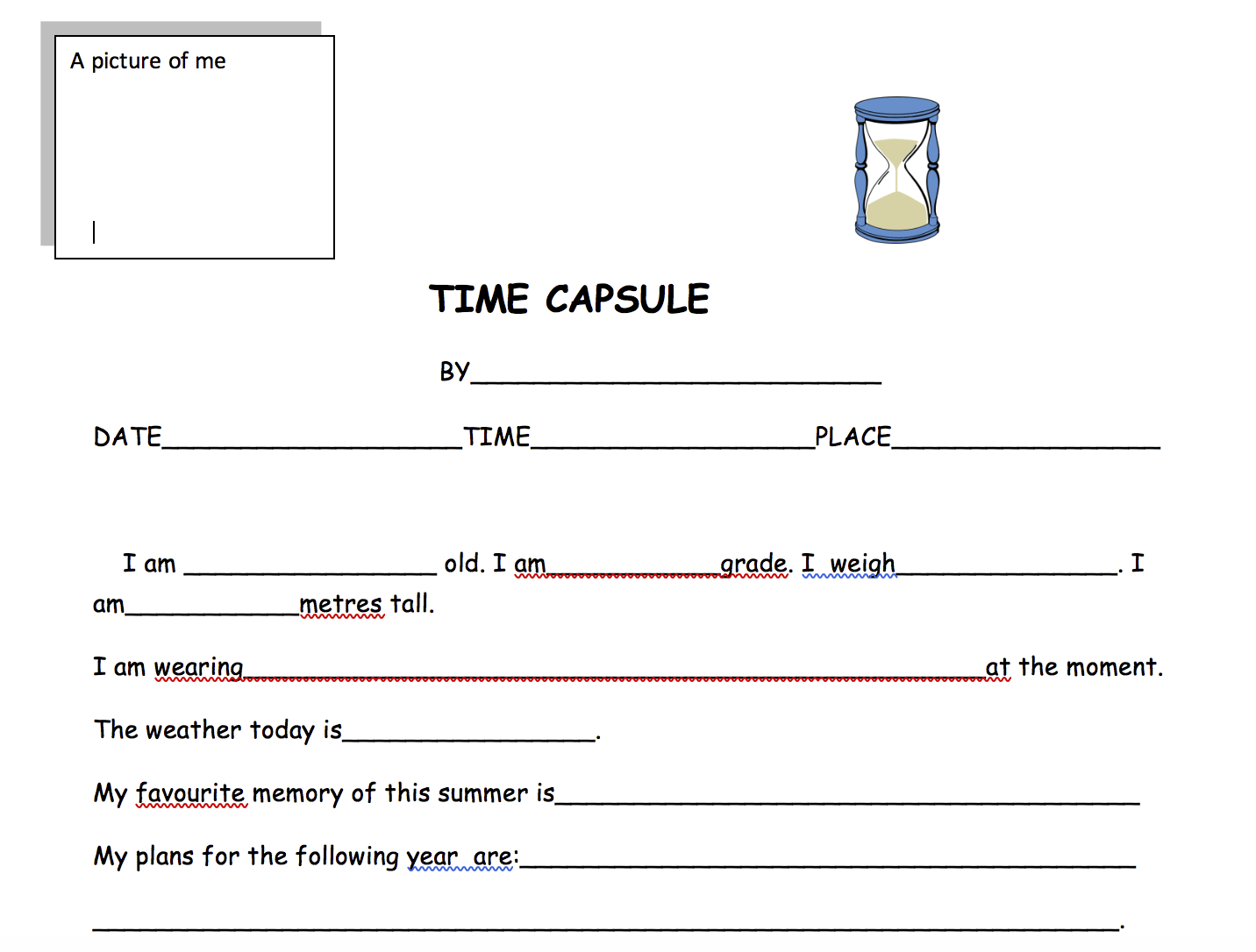 Time Capsule About Me Worksheet
